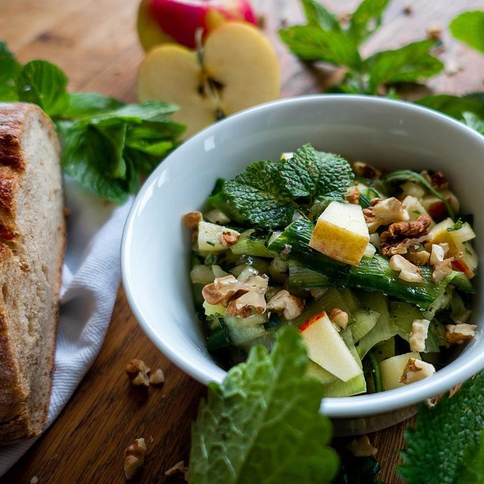 Bio-Apfel-Gurkensalat-Minze-Melisse
